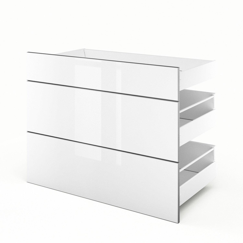 3 tiroirs de cuisine blanc 3d90 everest l90xh70xp55 cm for Tiroir cuisine leroy merlin