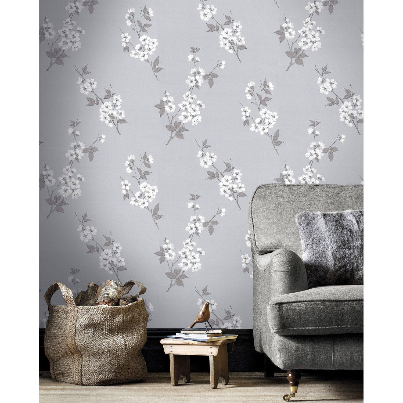 Papier peint intiss fleur japonaise gris leroy merlin - Papier capitonne leroy merlin ...