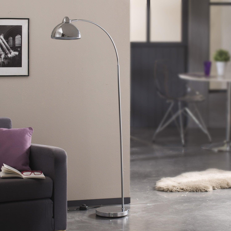 lampadaire felipe 141 cm chrom 60 watts leroy merlin. Black Bedroom Furniture Sets. Home Design Ideas