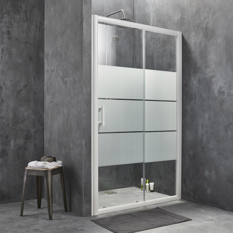 Porte de douche coulissante 136 5 140 cm profil blanc - Leroy merlin porte coulissante verre ...
