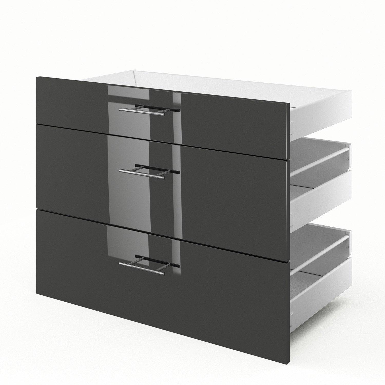 3 tiroirs de cuisine gris Rio, L.90 x H.70 x P.55 cm | Leroy Merlin
