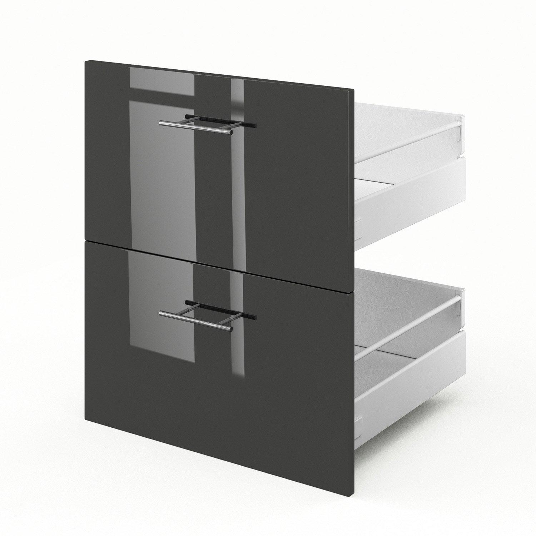2 tiroirs de cuisine gris 2d60 rio l60 x h70 x p55 cm leroy merlin. Black Bedroom Furniture Sets. Home Design Ideas