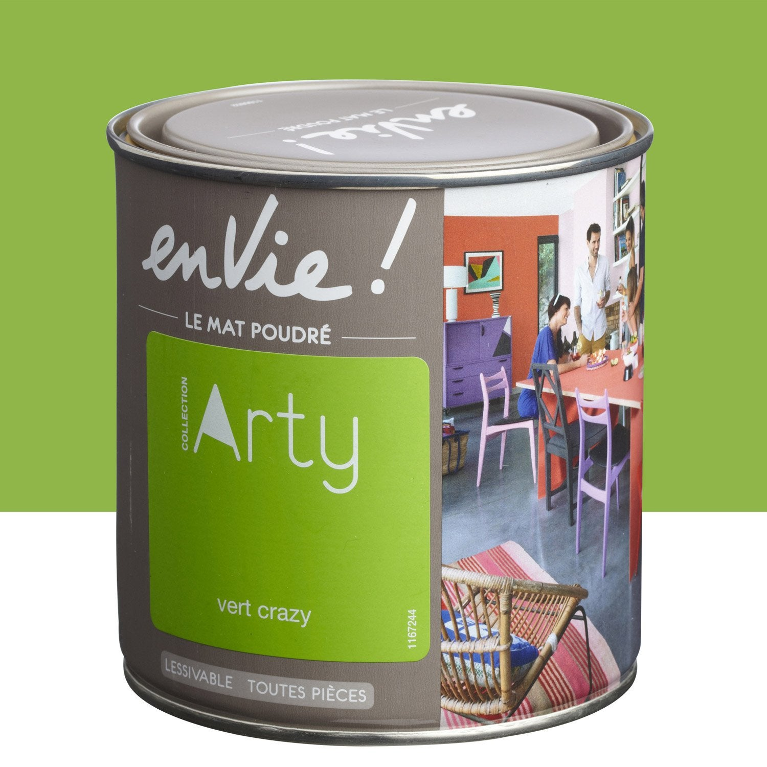 Peinture vert crazy luxens envie collection arty 0 5 l leroy merlin for Peinture orange brule
