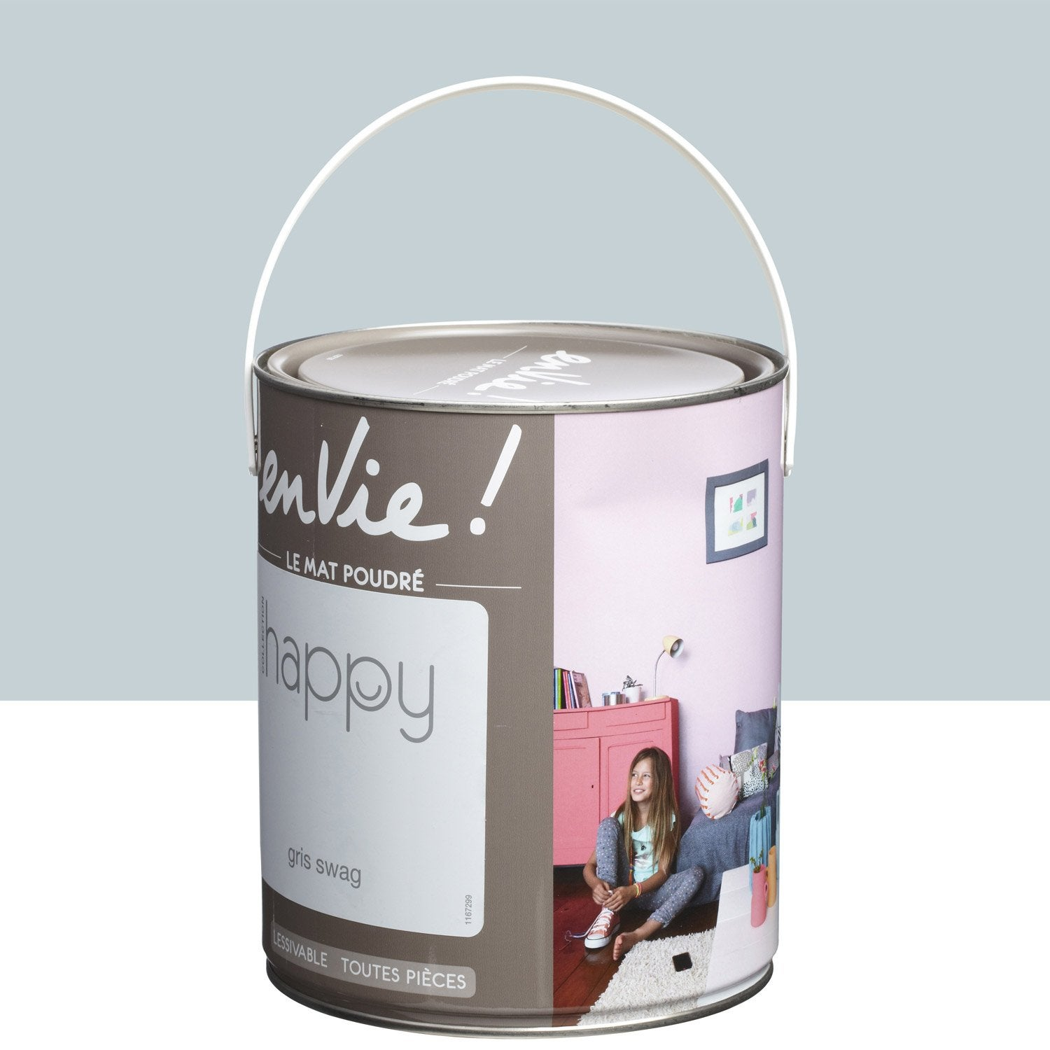Peinture gris swag luxens envie collection happy 2 5 l leroy merlin for Peinture murale gris