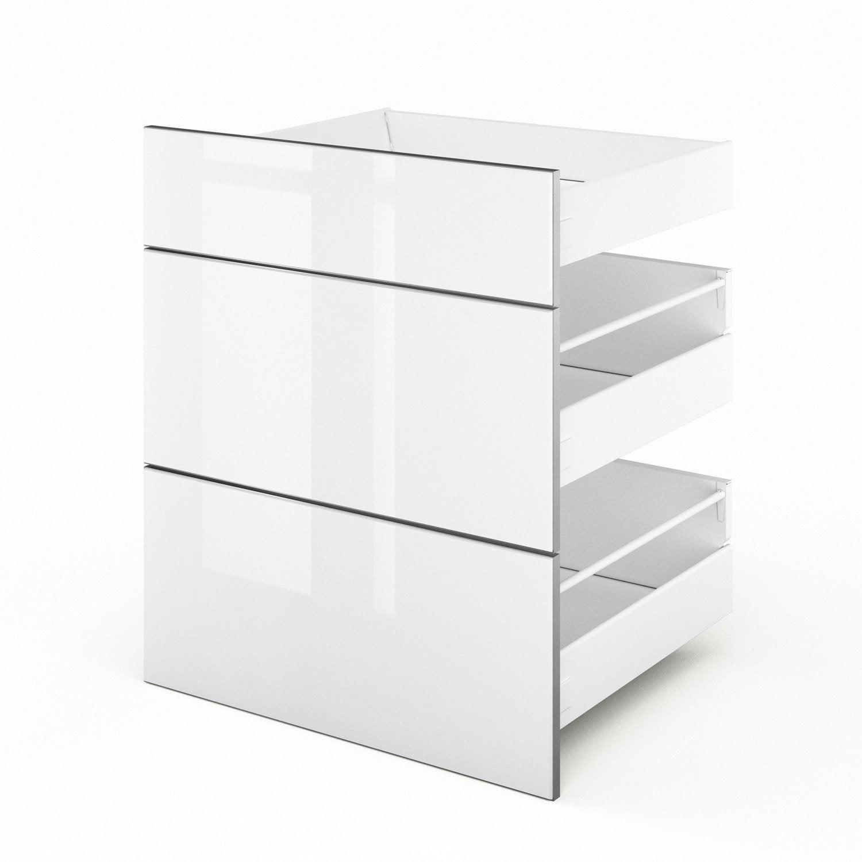 3 tiroirs de cuisine blanc 3d60 everest l60 x h70 x p55 cm leroy merlin. Black Bedroom Furniture Sets. Home Design Ideas