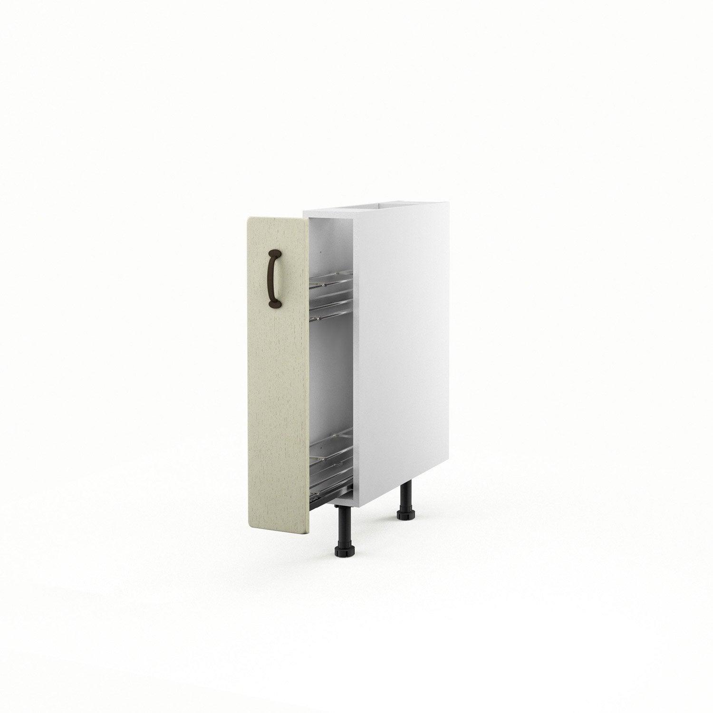 Meuble de cuisine bas beige 1 porte tradition x - Meuble cuisine 15 cm ...
