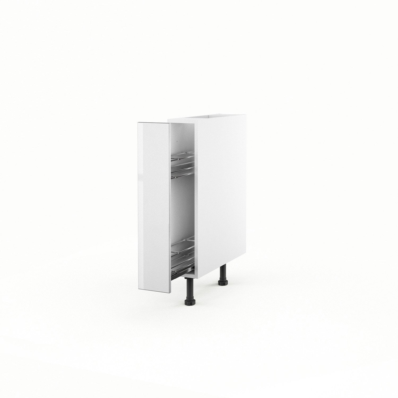 Meuble de cuisine bas blanc 1 porte everest x x for Meuble cuisine 15 cm