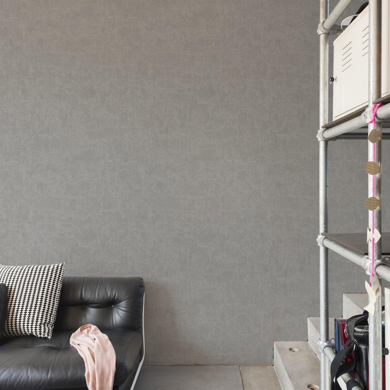 Papier peint intiss lissea gris fonc leroy merlin for Papier peint salon gris