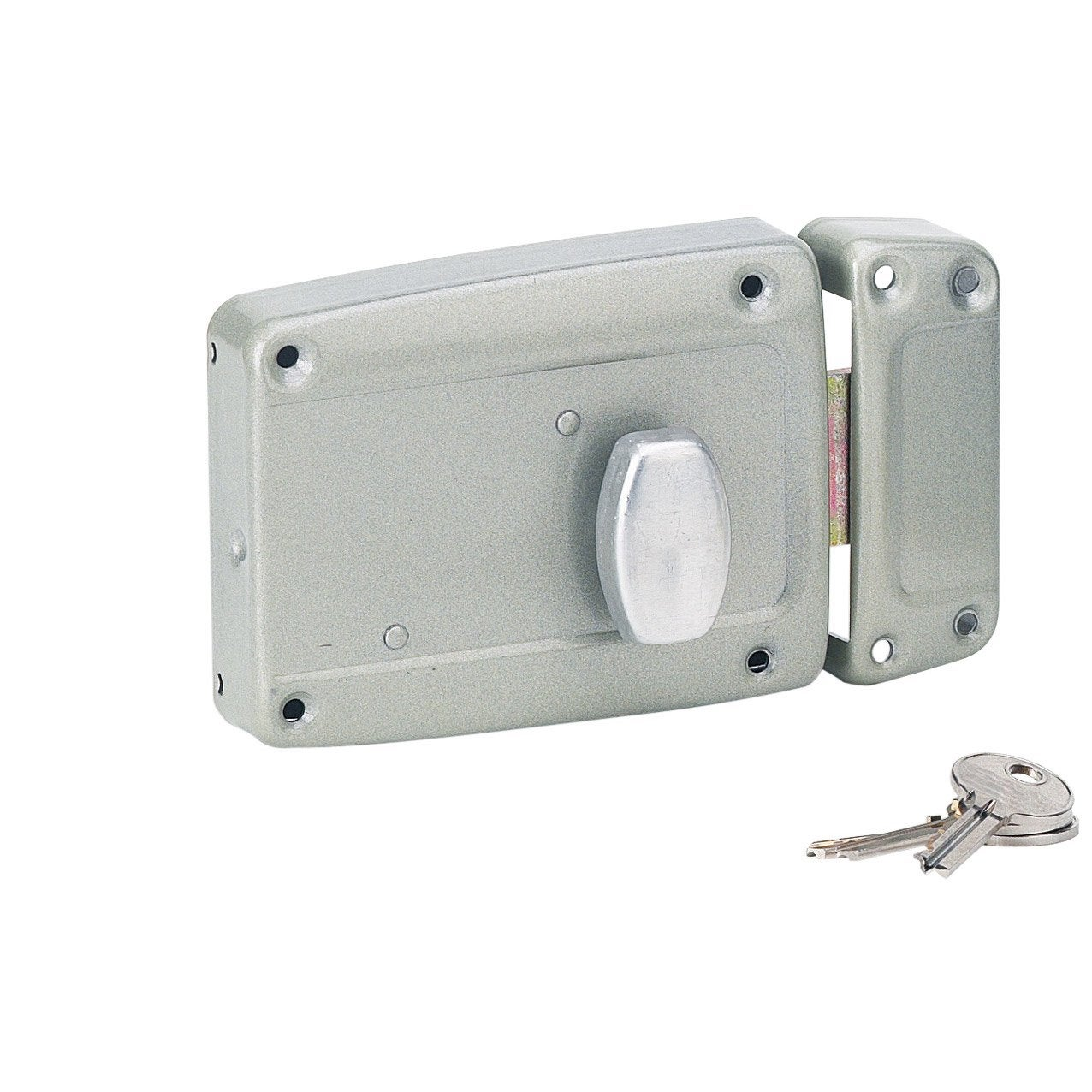 Serrure en applique thirard axe 70 mm poign e ouverture droite leroy merlin - Poignee serrure porte de garage ...