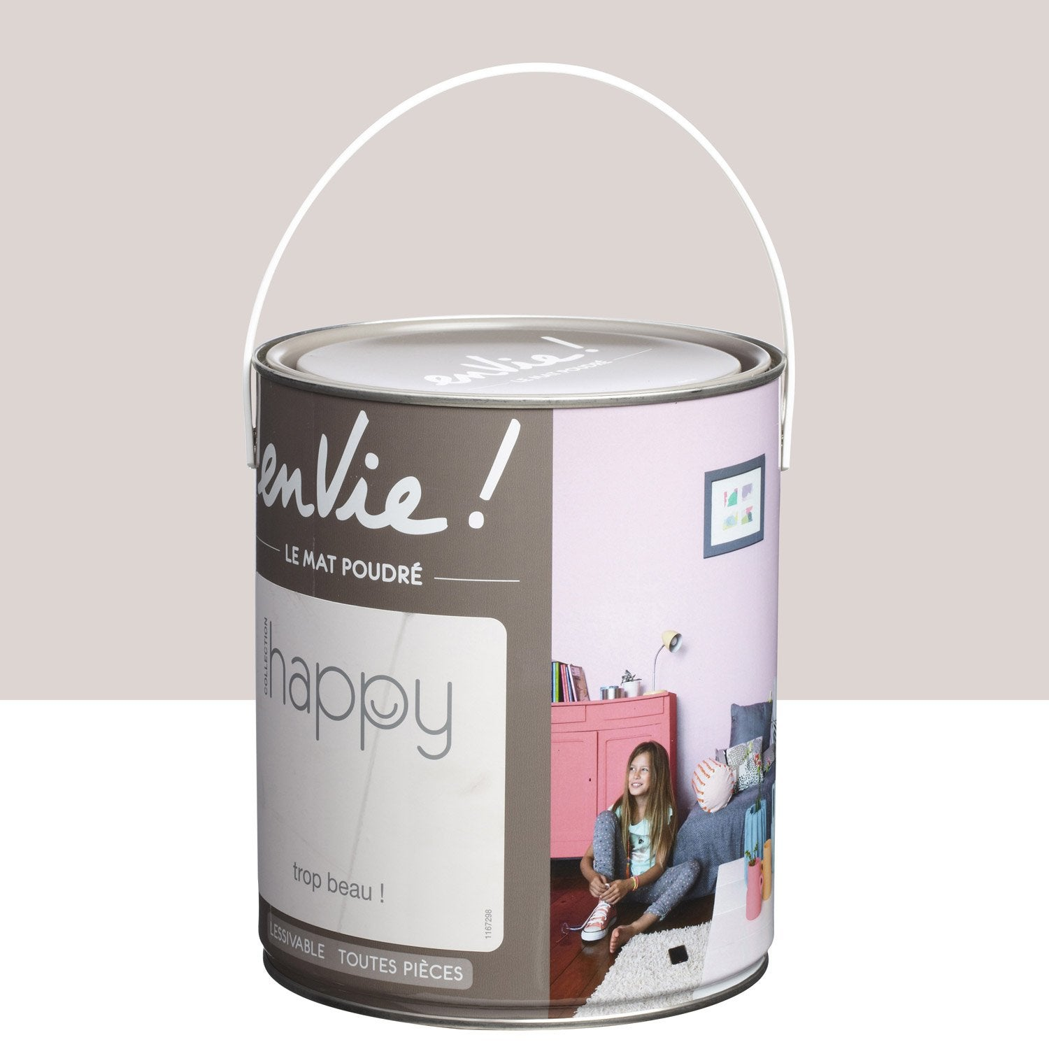 Peinture gris trop beau luxens envie collection happy 2 5 l leroy merlin for Peinture bio leroy merlin