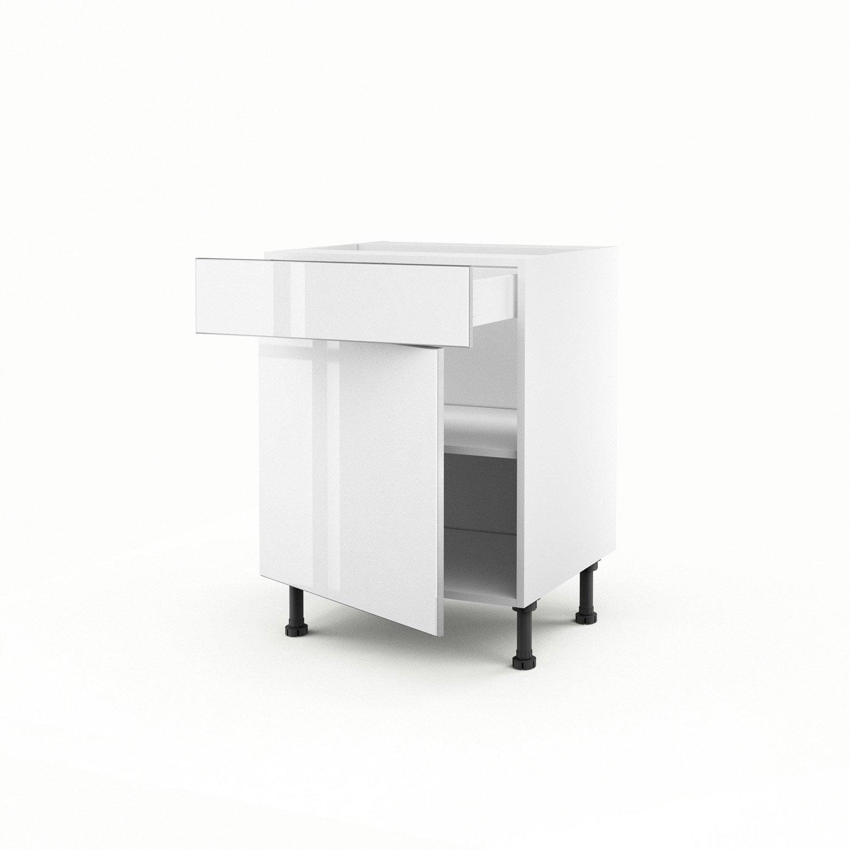 meuble de cuisine bas blanc 1 porte 1 tiroir everest x x cm leroy merlin. Black Bedroom Furniture Sets. Home Design Ideas