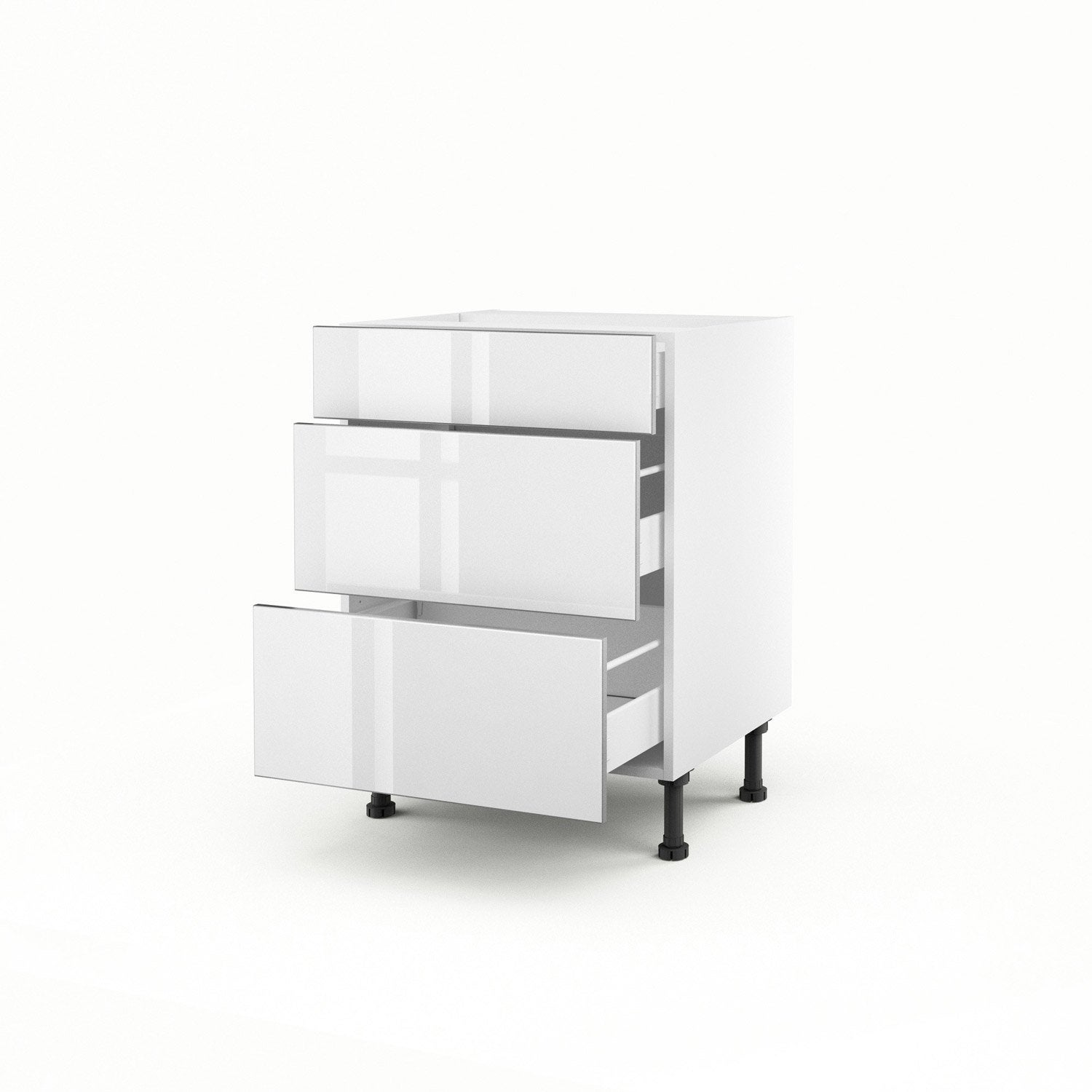 Meuble de cuisine bas blanc 3 tiroirs everest x for Meuble bureau 70 cm