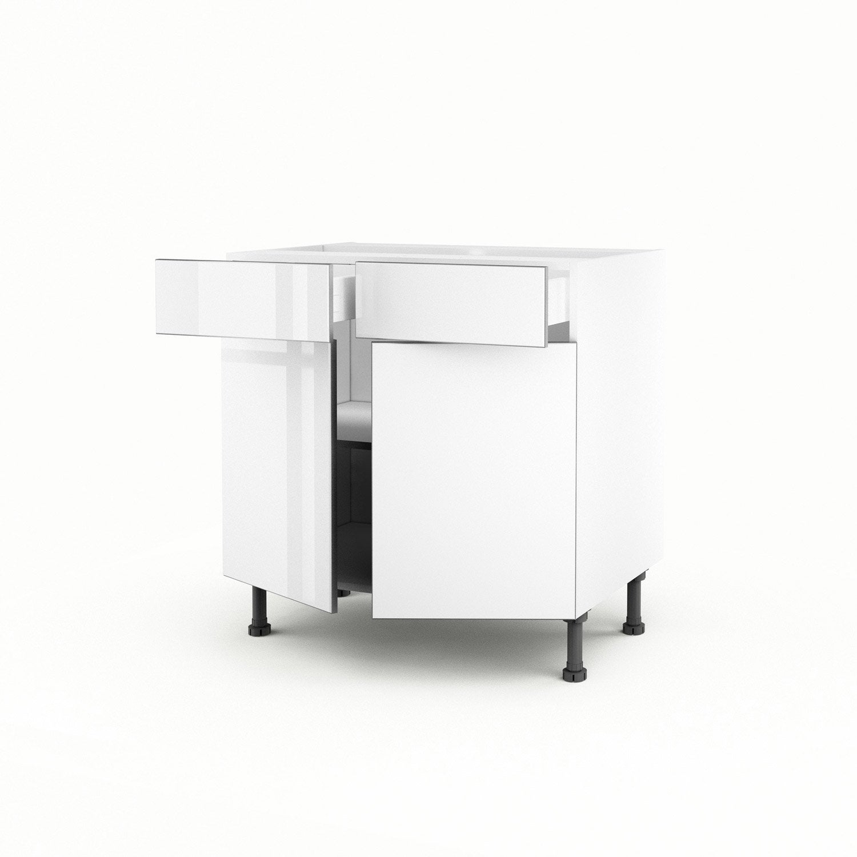 meuble de cuisine bas blanc 2 portes 2 tiroirs everest x x cm leroy merlin. Black Bedroom Furniture Sets. Home Design Ideas