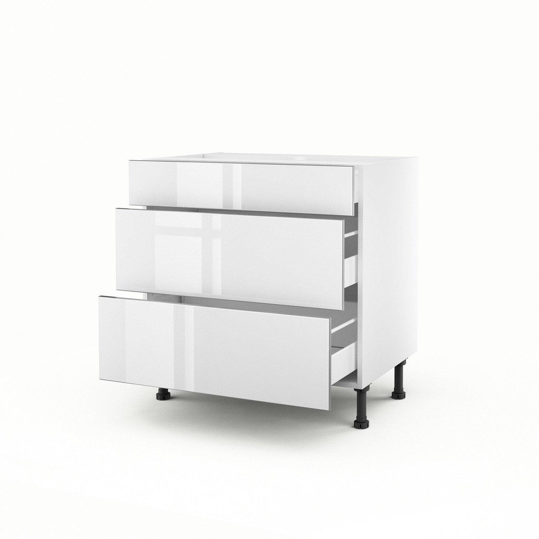 Meuble de cuisine bas blanc 3 tiroirs everest h70xl80xp56 - Meuble cuisine leroy merlin blanc ...