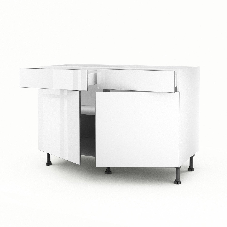 Meuble de cuisine bas blanc 2 portes 2 tiroirs everest h for Meuble bas cuisine 2 portes 2 tiroirs