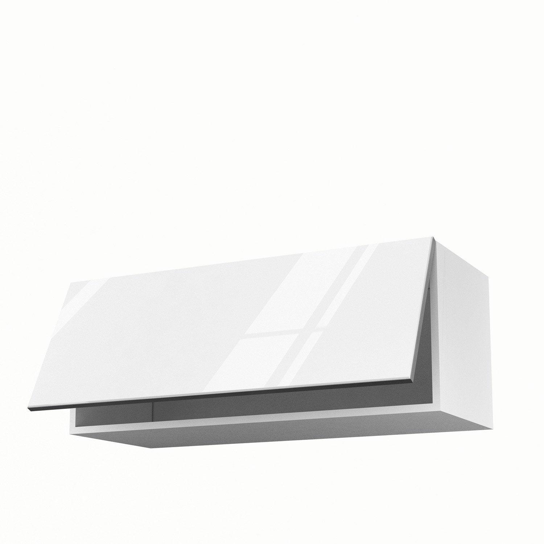Meuble de cuisine haut blanc 1 porte everest h35xl90xp35 cm leroy merlin - Ikea cuisine meuble haut blanc ...