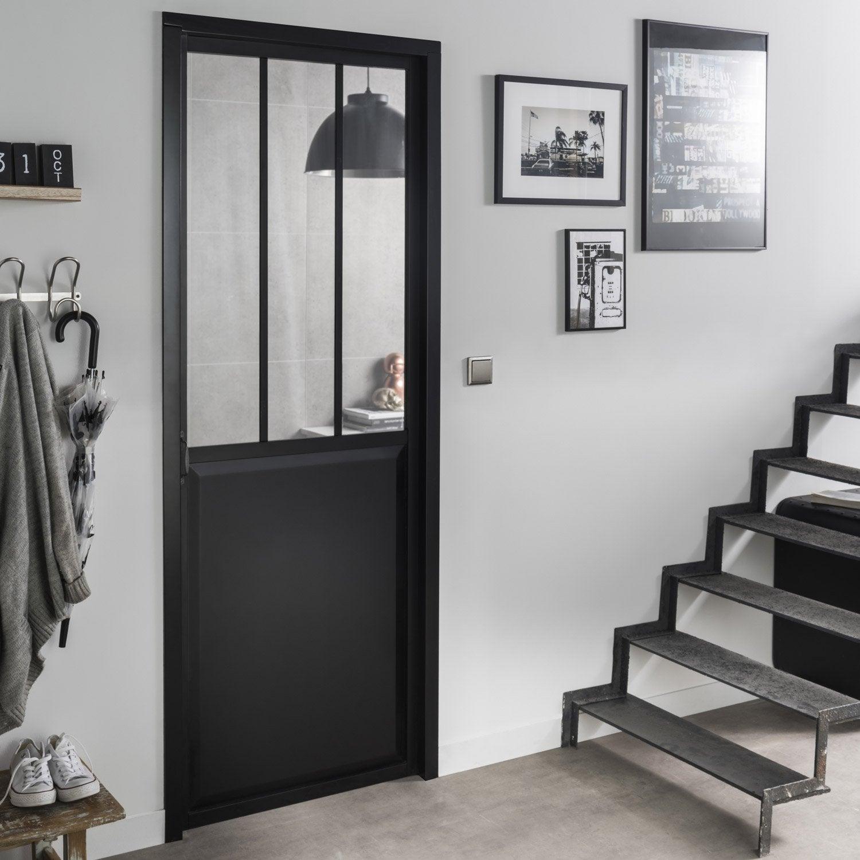 bloc porte noir atelier verre clair artens x cm poussant droit leroy merlin. Black Bedroom Furniture Sets. Home Design Ideas
