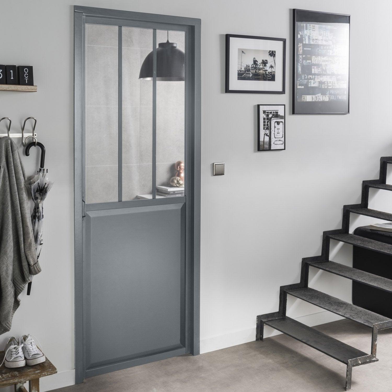 Bloc porte gris atelier verre clair artens x cm poussant gauche - Leroy merlin cloison atelier ...