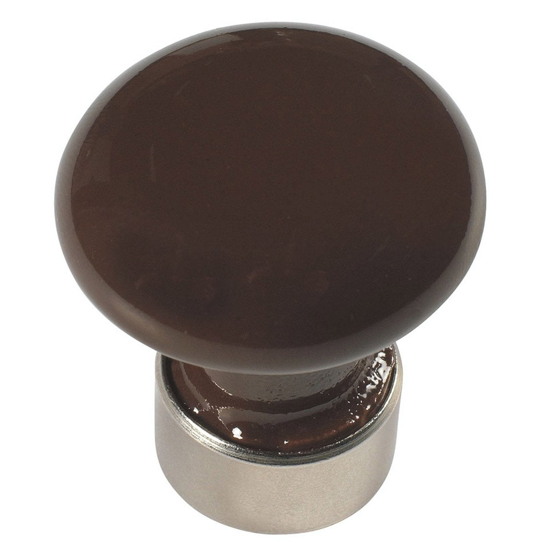 bouton de meuble tiroir porcelaine de limoges nickel mat leroy merlin. Black Bedroom Furniture Sets. Home Design Ideas