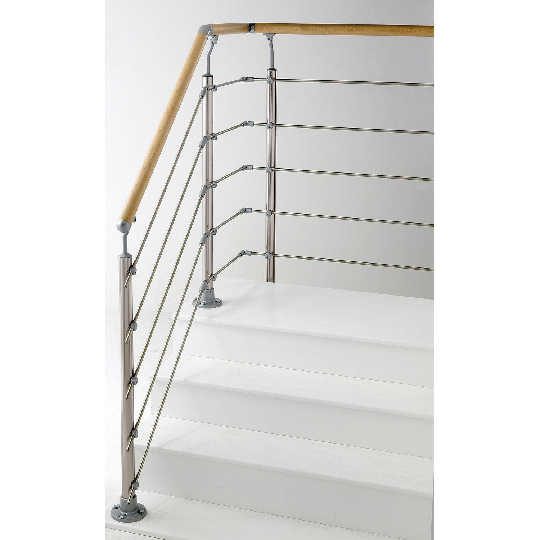 Main courante h tre verni obapi 2 m leroy merlin for Escalier exterieur metal leroy merlin