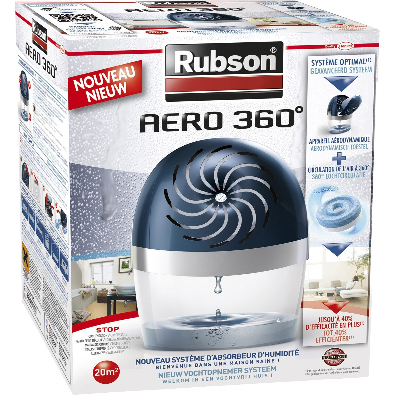 absorbeur d 39 humidit une recharge a ro 360 rubson 20 m leroy merlin. Black Bedroom Furniture Sets. Home Design Ideas