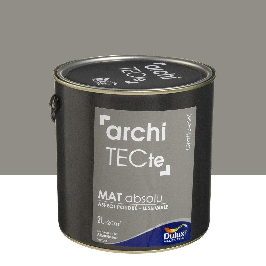 Peinture gris gratte ciel dulux valentine architecte 2 l leroy merlin for Peinture teinte leroy merlin