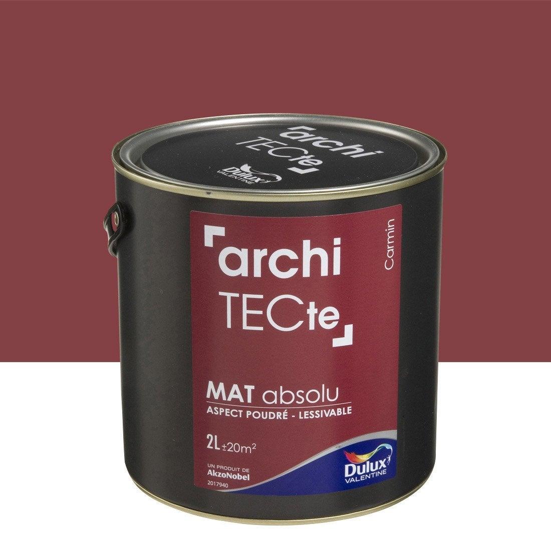 Peinture rouge carmin dulux valentine architecte 2 l for Peinture architecte leroy merlin