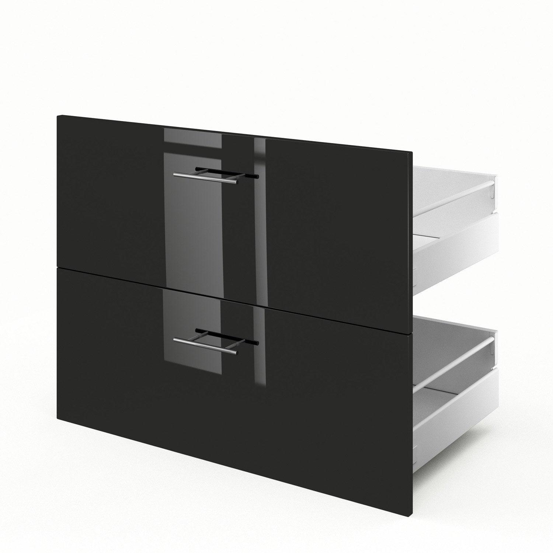 2 tiroirs de cuisine noir rio x x cm for Meuble cuisine 55 cm