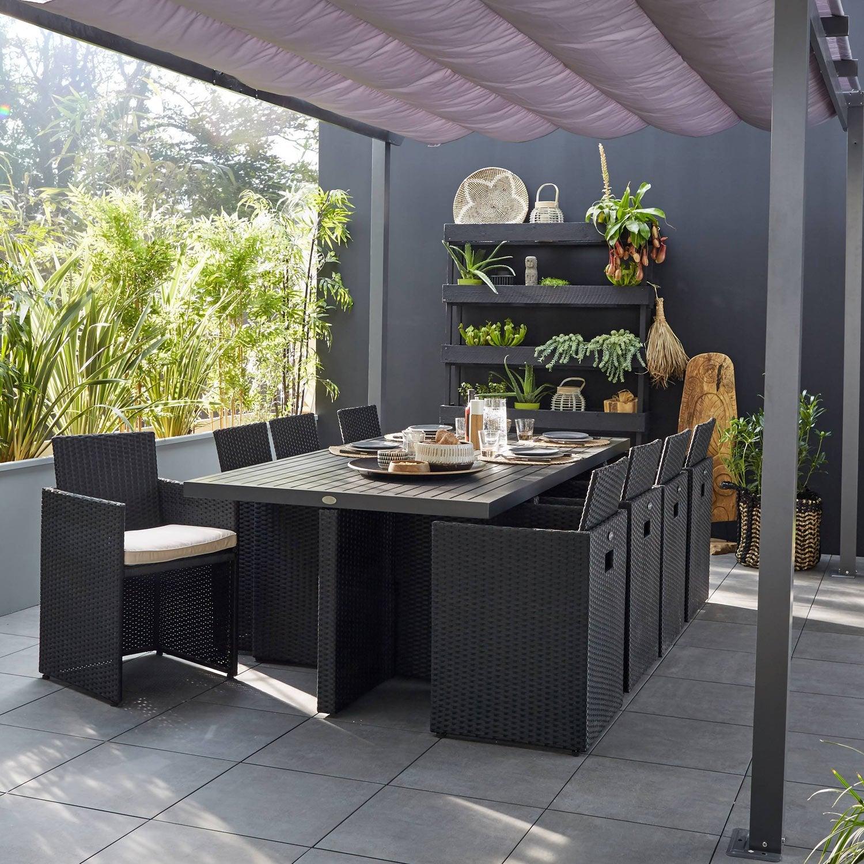 salon-de-jardin-encastrable-resine-tressee-noir-8-personnes Frais De Table Et Fauteuil De Jardin Des Idées
