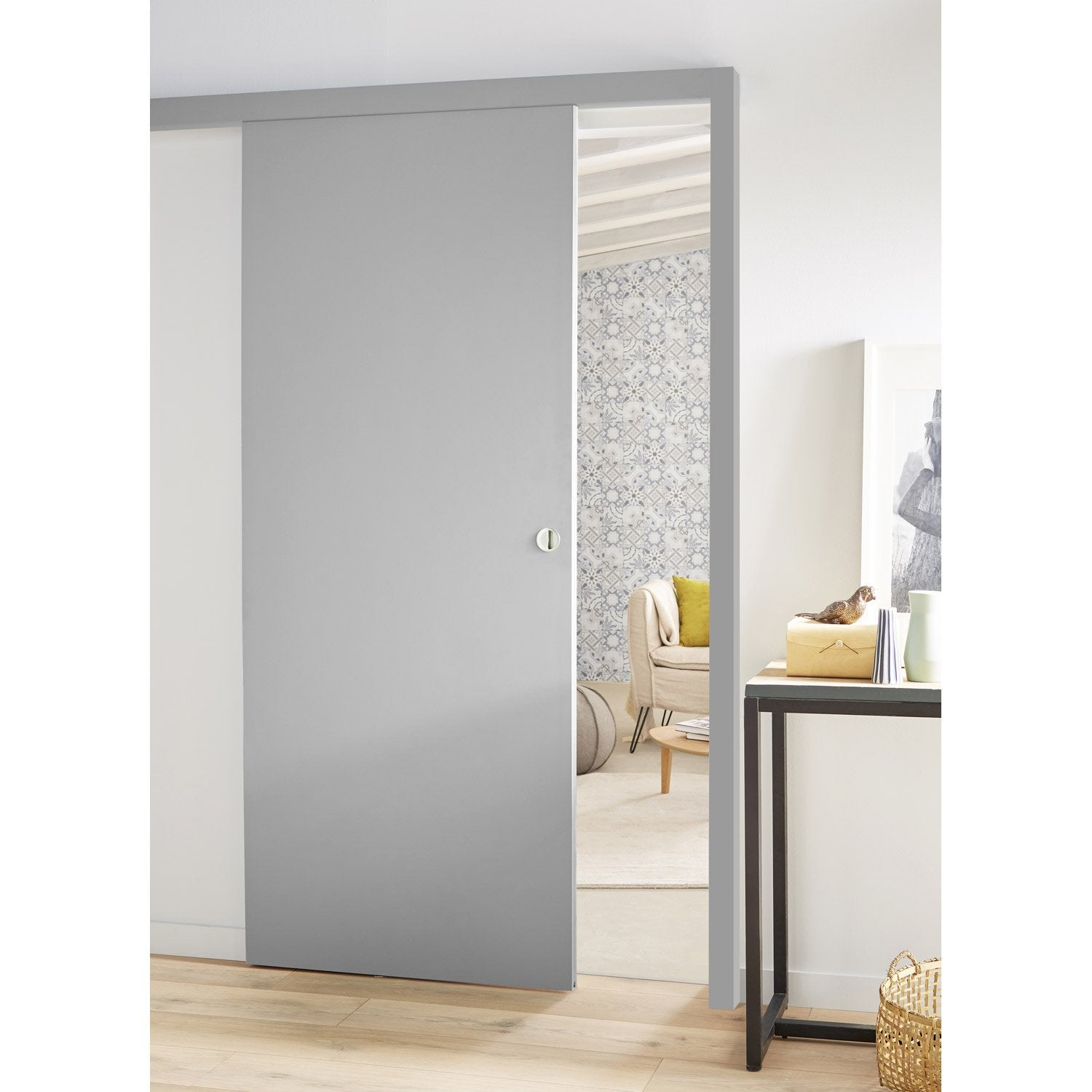 Ensemble porte coulissante coulicool mdf rev tu avec le for Porte de salon leroy merlin