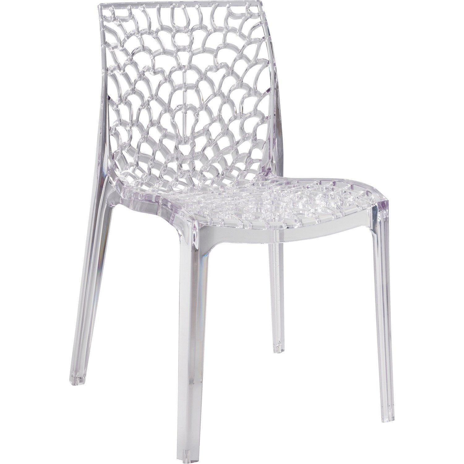 Chaise de jardin en polycarbonate grafik lux transparent for Chaise salle de bain leroy merlin