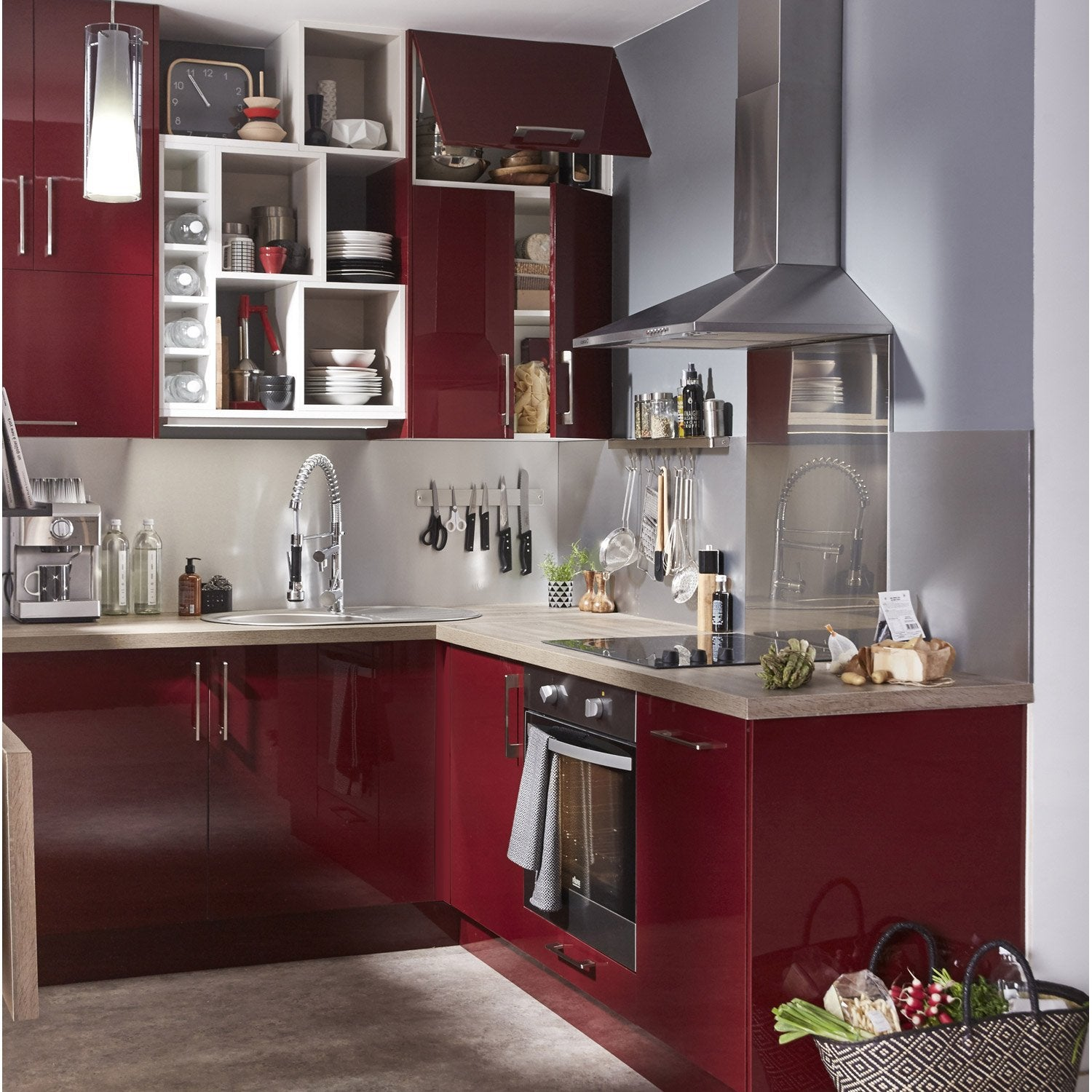 Meuble de cuisine rouge delinia griotte leroy merlin for Meuble hotte leroy merlin