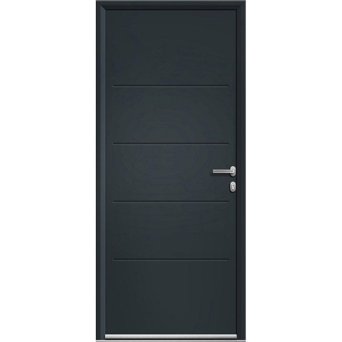 Porte d 39 entr e aluminium lineal gris poussant gauche h 215 x l 90 cm - Leroy merlin porte entree alu ...