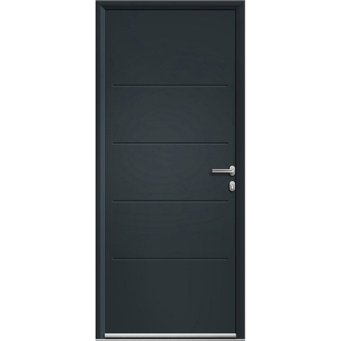 porte d 39 entr e aluminium lineal gris poussant gauche h 215 x l 90 cm leroy merlin. Black Bedroom Furniture Sets. Home Design Ideas