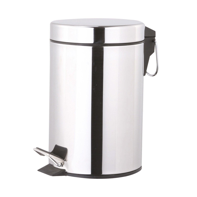 poubelle de salle de bains 5l chrom bross noir chrom leroy merlin. Black Bedroom Furniture Sets. Home Design Ideas