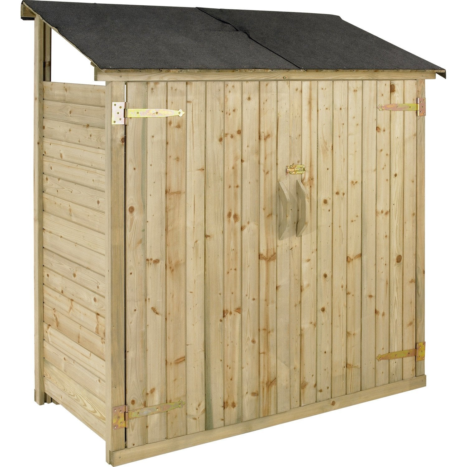 Armoire de jardin bois naturelle x x cm for Porte local piscine