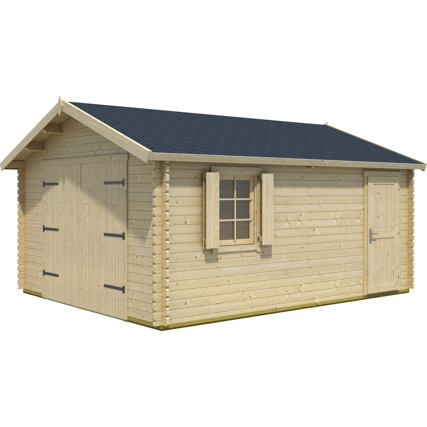 Garage bois kunda 1 voiture m leroy merlin for Garage en bois 20m2