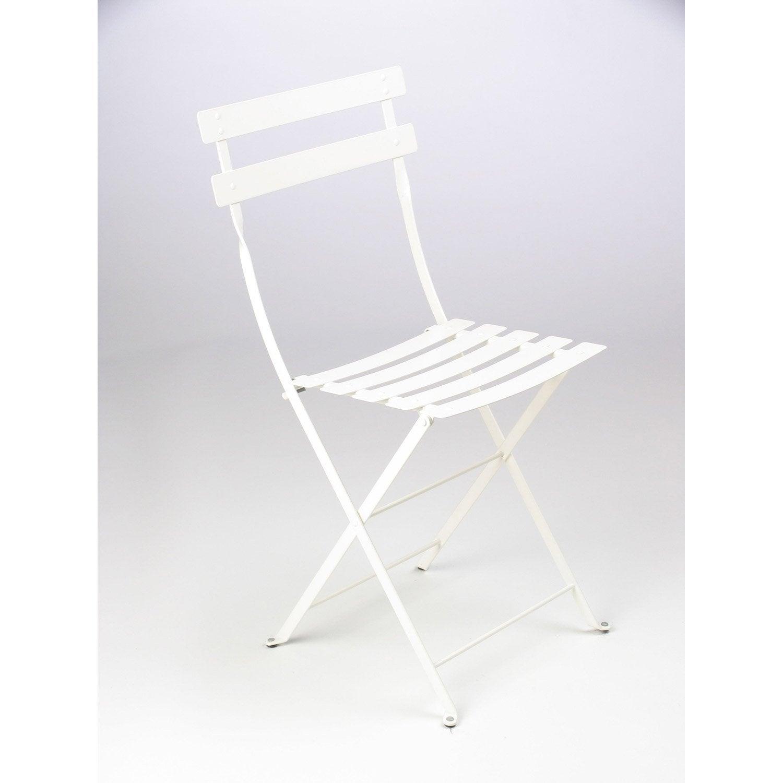 Chaise de jardin en acier bistro blanc leroy merlin for Chaise balancoire jardin