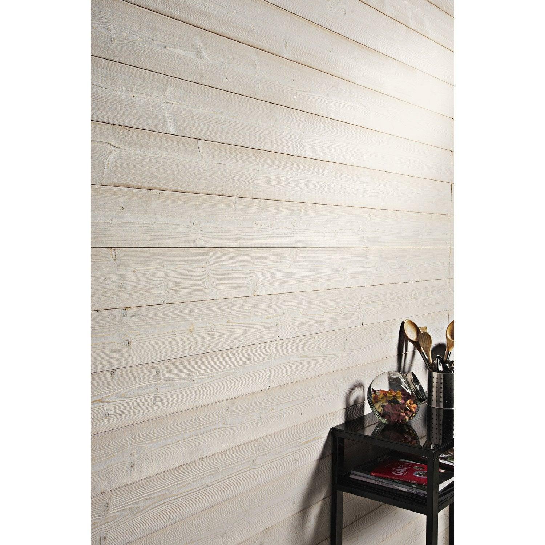 Lambris bois pic a bross essuy blanc blanc n 0 artens ep 12mm - Lambris brosse blanc ...