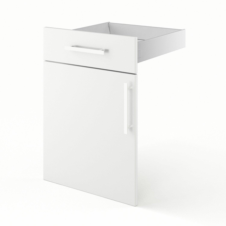 Caisson De Cuisine Bas B DELINIA Blanc L X H X P Cm - Meuble cuisine largeur 50 cm pour idees de deco de cuisine