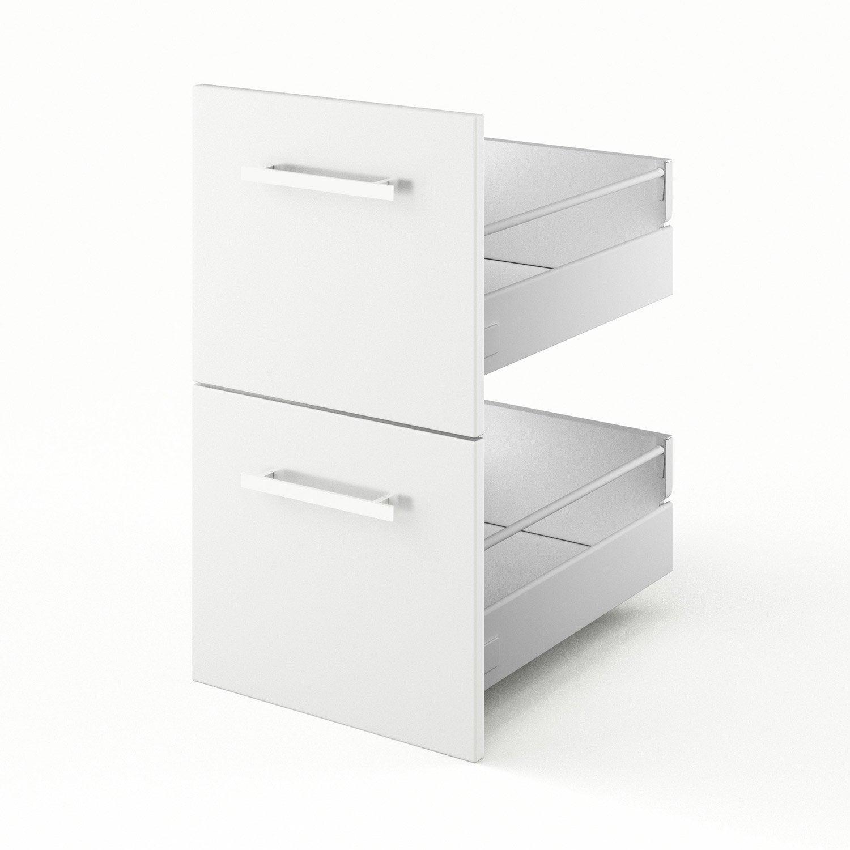 2 tiroirs de cuisine blanc 2d40 d lice l40 x h70x p55 cm leroy merlin - Cuisine delice leroy merlin ...