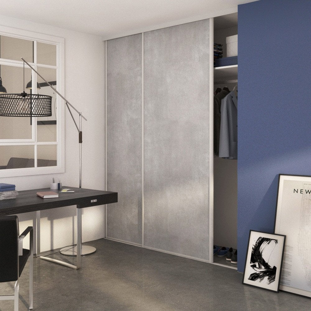 porte de placard coulissante b ton spaceo 250x98cm leroy merlin. Black Bedroom Furniture Sets. Home Design Ideas