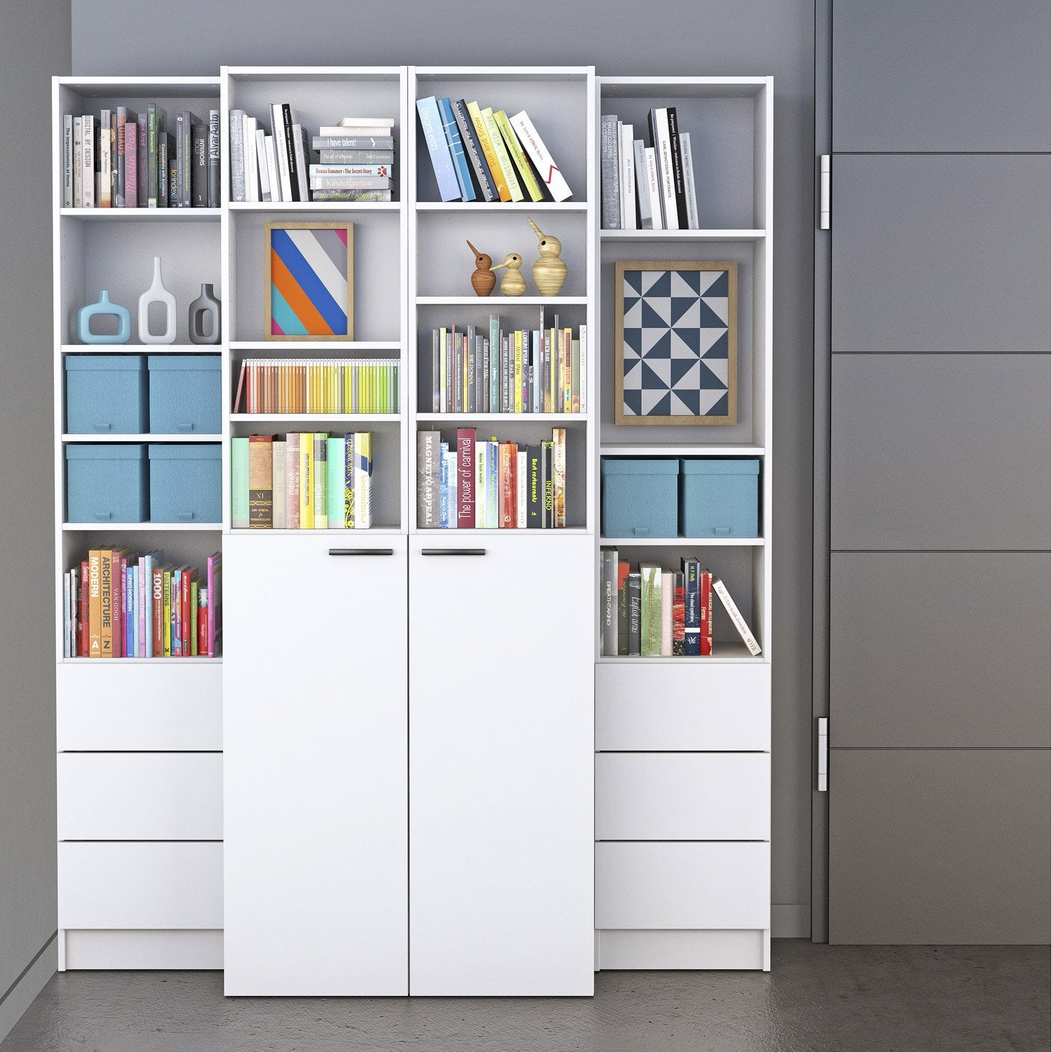 Biblioth que spaceo home blanc leroy merlin for Abat jour leroy merlin