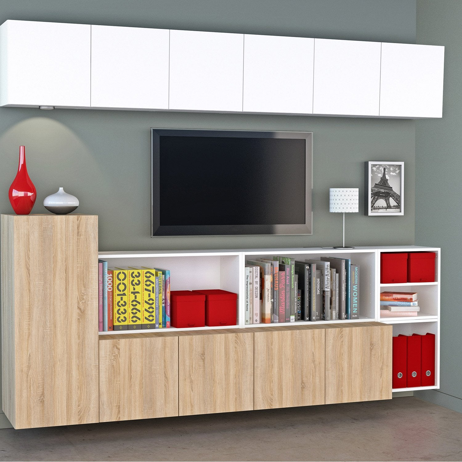 Meuble tv spaceo home effet ch ne leroy merlin - Meuble tv leroy merlin ...