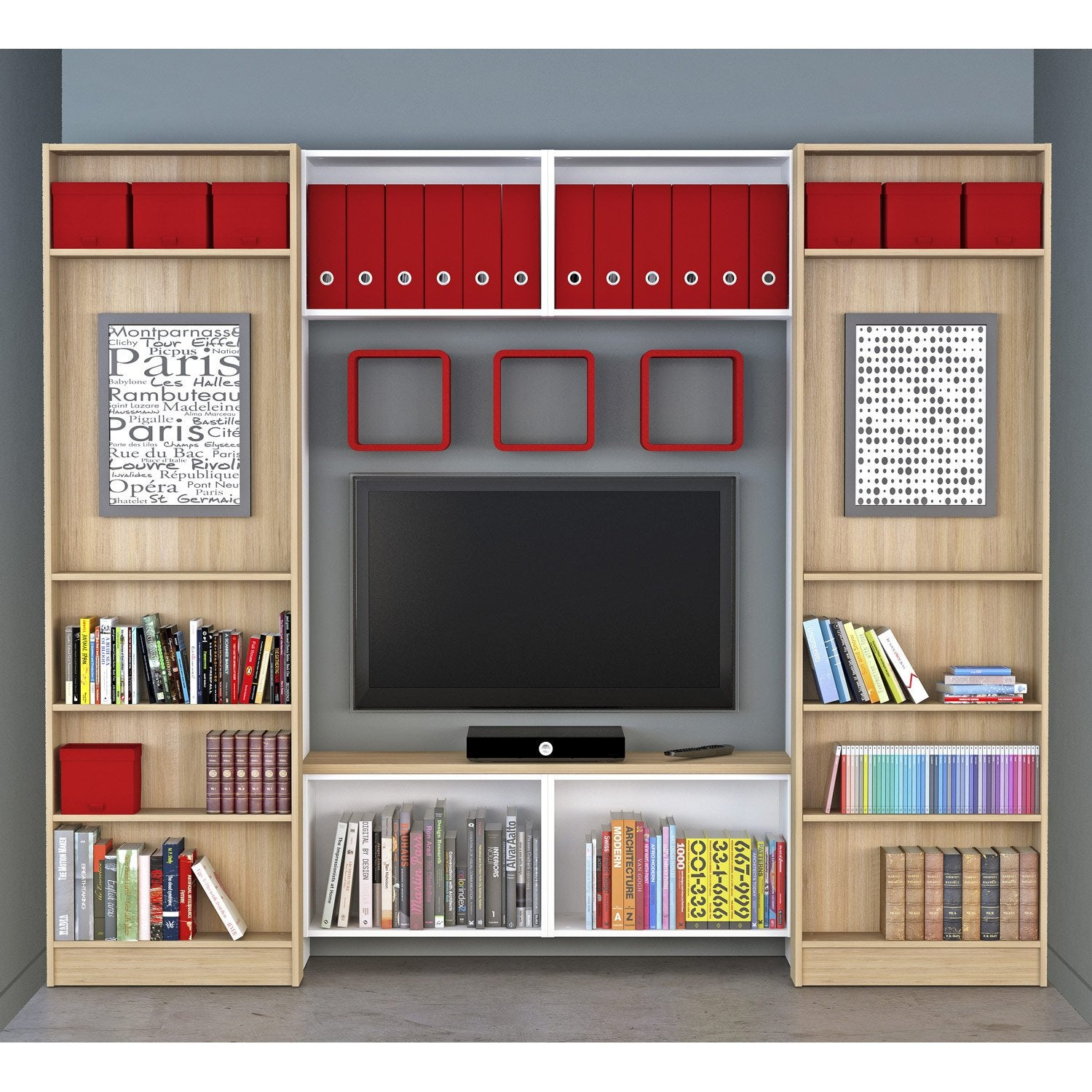 Meuble tv spaceo home d cor ch ne leroy merlin - Meuble bibliotheque leroy merlin ...