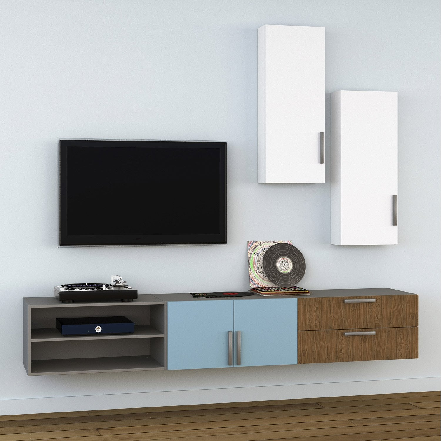 Meuble tv spaceo home effet ch ne leroy merlin for Meuble tele en verre design