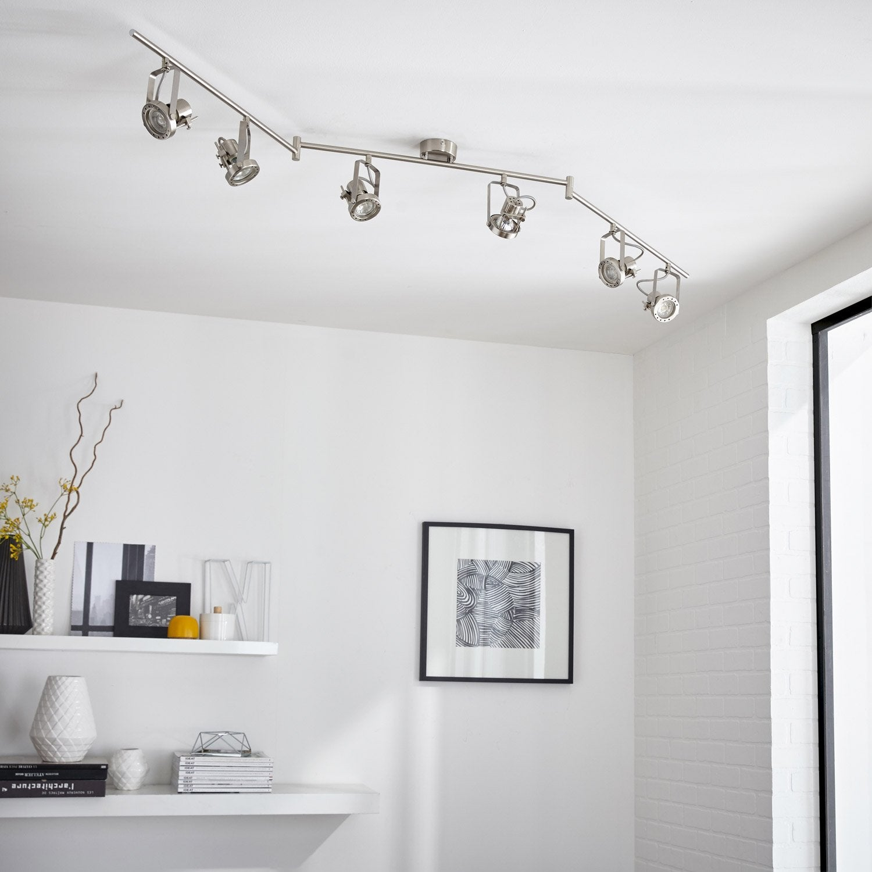 Rampe 6 spots gu10 sans ampoule 6 acier technic inspire for Rampe salle de bain