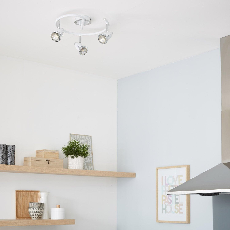 plafonnier 3 spots sans ampoule 3 x gu10 blanc worm. Black Bedroom Furniture Sets. Home Design Ideas