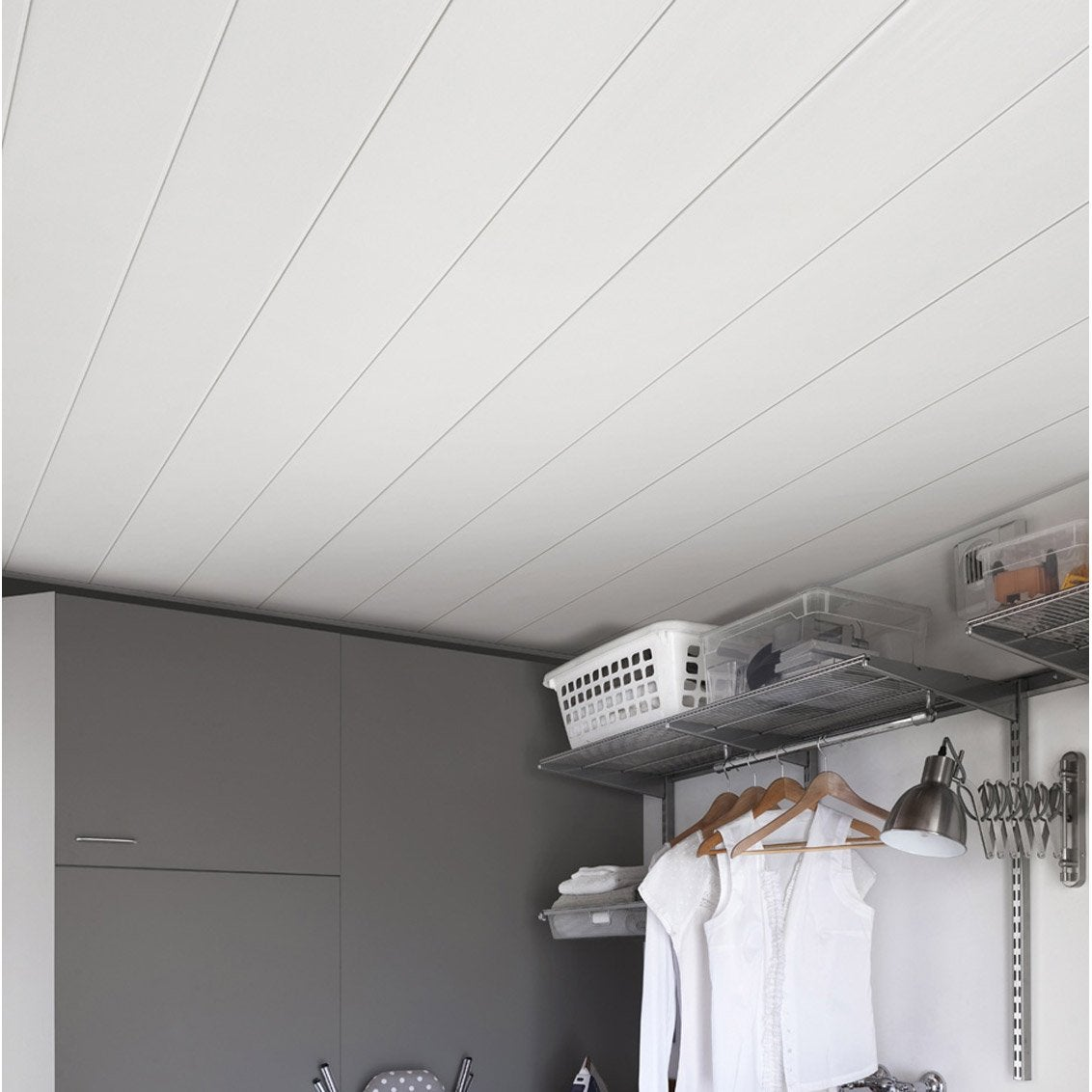 Lambris pvc blanc brut grosfillex line 3000 x cm x ep 8 mm leroy merlin - Lambris pvc grosfillex ...