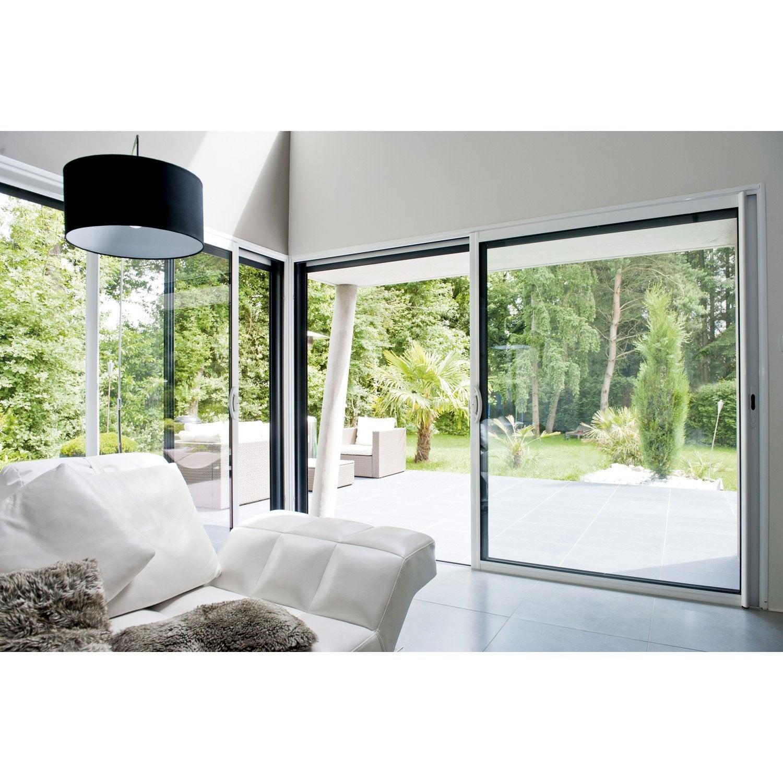 Baie vitr e aluminium blanc excellence x cm - Baie vitree 3 vantaux leroy merlin ...
